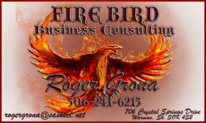 Business Card for Roger Grona - President - Firebird Business Consulting